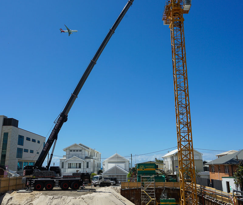 Tower Crane Setup for Falcon Cranes at the Sable On Palm Site, Palm Beach